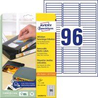 Avery Zweckform No. L6022REV-25 univerzális 63,5 x 8,5 mm méretű visszaszedhető, fehér öntapadó etikett címke A4-es íven - 2400 címke / csomag - 25 ív / csomag (Avery L6022REV-25)
