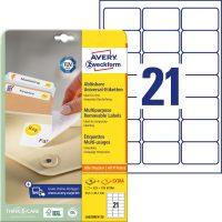 Avery Zweckform No. L6023REV-25 univerzális 63,5 x 38,1 mm méretű visszaszedhető, fehér öntapadó etikett címke A4-es íven - 630 címke / csomag - 30 ív / csomag (Avery L6023REV-25)