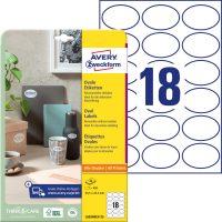 Avery Zweckform No. L6024REV-25 univerzális 63,5 x 42,3 mm visszaszedhető, fehér öntapadó ovális alakú termékcímke A4-es íven - 450 címke / csomag - 25 ív / csomag (Avery L6024REV-25)