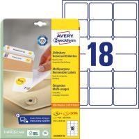 Avery Zweckform No. L6025REV-25 univerzális 63,5 x 46,6 mm méretű visszaszedhető, fehér öntapadó etikett címke A4-es íven - 540 címke / csomag - 30 ív / csomag (Avery L6025REV-25)