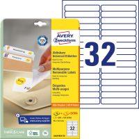 Avery Zweckform No. L6031REV-25 univerzális 96 x 16,9 mm méretű visszaszedhető, fehér öntapadó etikett címke A4-es íven - 960 címke / csomag - 30 ív / csomag (Avery L6031REV-25)