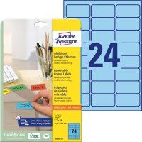 Avery Zweckform No. L6032-20 univerzális 63,5 x 33,9 mm méretű visszaszedhető, kék öntapadó etikett címke A4-es íven - 480 címke / csomag - 20 ív / csomag (Avery L6032-20)