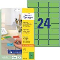 Avery Zweckform No. L6033-20 univerzális 63,5 x 33,9 mm méretű visszaszedhető, zöld öntapadó etikett címke A4-es íven - 480 címke / csomag - 20 ív / csomag (Avery L6033-20)