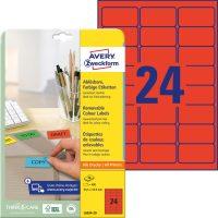 Avery Zweckform No. L6034-20 univerzális 63,5 x 33,9 mm méretű visszaszedhető, piros öntapadó etikett címke A4-es íven - 480 címke / csomag - 20 ív / csomag (Avery L6034-20)