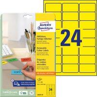 Avery Zweckform No. L6035-20 univerzális 63,5 x 33,9 mm méretű visszaszedhető, sárga öntapadó etikett címke A4-es íven - 480 címke / csomag - 20 ív / csomag (Avery L6035-20)