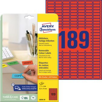 Avery Zweckform No. L6036-20 univerzális 25,4 x 10 mm méretű visszaszedhető, piros öntapadó etikett címke A4-es íven - 3780 címke / csomag - 20 ív / csomag (Avery L6036-20)