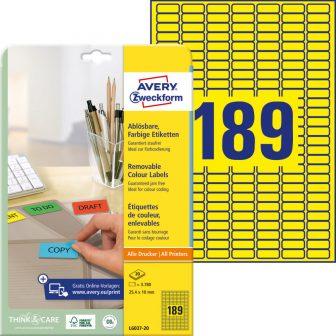 Avery Zweckform No. L6037-20 univerzális 25,4 x 10 mm méretű visszaszedhető, sárga öntapadó etikett címke A4-es íven - 3780 címke / csomag - 20 ív / csomag (Avery L6037-20)