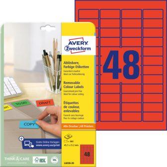 Avery Zweckform No. L6038-20 univerzális 45,7 x 21,2 mm méretű visszaszedhető, piros öntapadó etikett címke A4-es íven - 960 címke / csomag - 20 ív / csomag (Avery L6038-20)