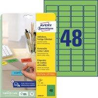 Avery Zweckform No. L6040-20 univerzális 45,7 x 21,2 mm méretű visszaszedhető, zöld öntapadó etikett címke A4-es íven - 960 címke / csomag - 20 ív / csomag (Avery L6040-20)