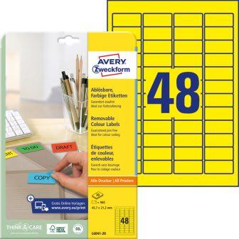 Avery Zweckform No. L6041-20 univerzális 45,7 x 21,2 mm méretű visszaszedhető, sárga öntapadó etikett címke A4-es íven - 960 címke / csomag - 20 ív / csomag (Avery L6041-20)