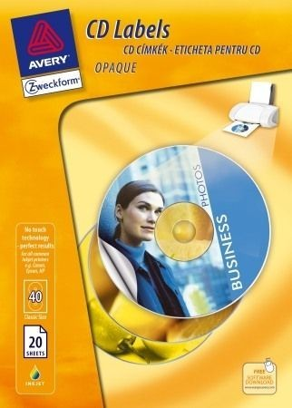 Avery Zweckform No. L6043-20HU univerzális A4 fehér CD etikett címke (méret: átmérő 117 mm, 40 címke / csomag) (Avery L6043-20HU)