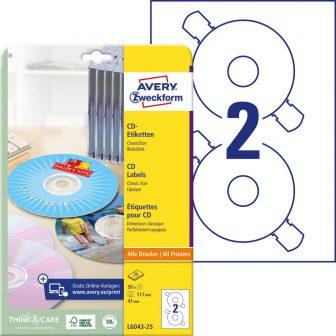 Avery Zweckform No. L6043-25 univerzális 117 mm átmérőjű, fehér öntapadó CD címke A4-es íven - 50 címke / csomag - 25 ív / csomag (Avery L6043-25)
