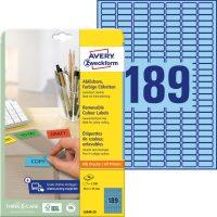 Avery Zweckform No. L6048-20 univerzális 25,4 x 10 mm méretű visszaszedhető, kék öntapadó etikett címke A4-es íven - 3780 címke / csomag - 20 ív / csomag (Avery L6048-20)