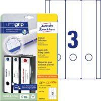 Avery Zweckform No. L6059-25 univerzális 59 x 297 mm méretű, fehér öntapadó iratrendező címke A4-es íven - 75 címke / csomag - 25 ív / csomag (Avery L6059-25)