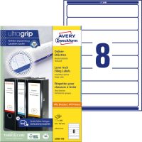 Avery Zweckform No. L6060-100 univerzális 34 x 192 mm méretű, fehér öntapadó iratrendező címke A4-es íven - 800 címke / doboz - 100 ív / doboz (Avery L6060-100)