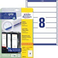 Avery Zweckform No. L6060-25 univerzális 34 x 192 mm méretű, fehér öntapadó iratrendező címke A4-es íven - 200 címke / csomag - 25 ív / csomag (Avery L6060-25)