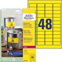 Avery Zweckform No. L6103-20 lézeres 45,7 x 21,2 mm méretű, sárga időjárásálló öntapadó etikett címke, tartós ragasztóval A4-es íven - 960 címke / csomag - 20 ív / csomag (Avery L6103-20)