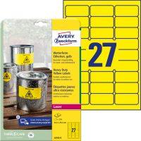 Avery Zweckform No. L6105-8 lézeres 63,5 x 29,6 mm méretű, sárga időjárásálló öntapadó etikett címke, tartós ragasztóval A4-es íven - 216 címke / csomag - 8 ív / csomag (Avery L6105-8)