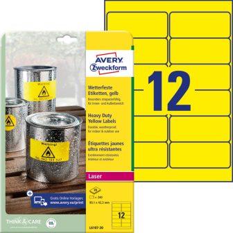 Avery Zweckform No. L6107-20 lézeres 99,1 x 42,3 mm méretű, sárga időjárásálló öntapadó etikett címke, tartós ragasztóval A4-es íven - 240 címke / csomag - 20 ív / csomag (Avery L6107-20)