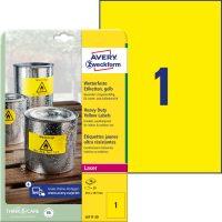 Avery Zweckform No. L6111-20 lézeres 210 x 297 mm méretű, sárga időjárásálló öntapadó etikett címke, tartós ragasztóval A4-es íven - 20 címke / csomag - 20 ív / csomag (Avery L6111-20)