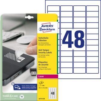 Avery Zweckform No. L6113-20 lézeres 45,7 x 21,2 mm méretű, fehér öntapadó biztonsági etikett címke A4-es íven - 960 címke / csomag - 20 ív / csomag (Avery L6113-20)
