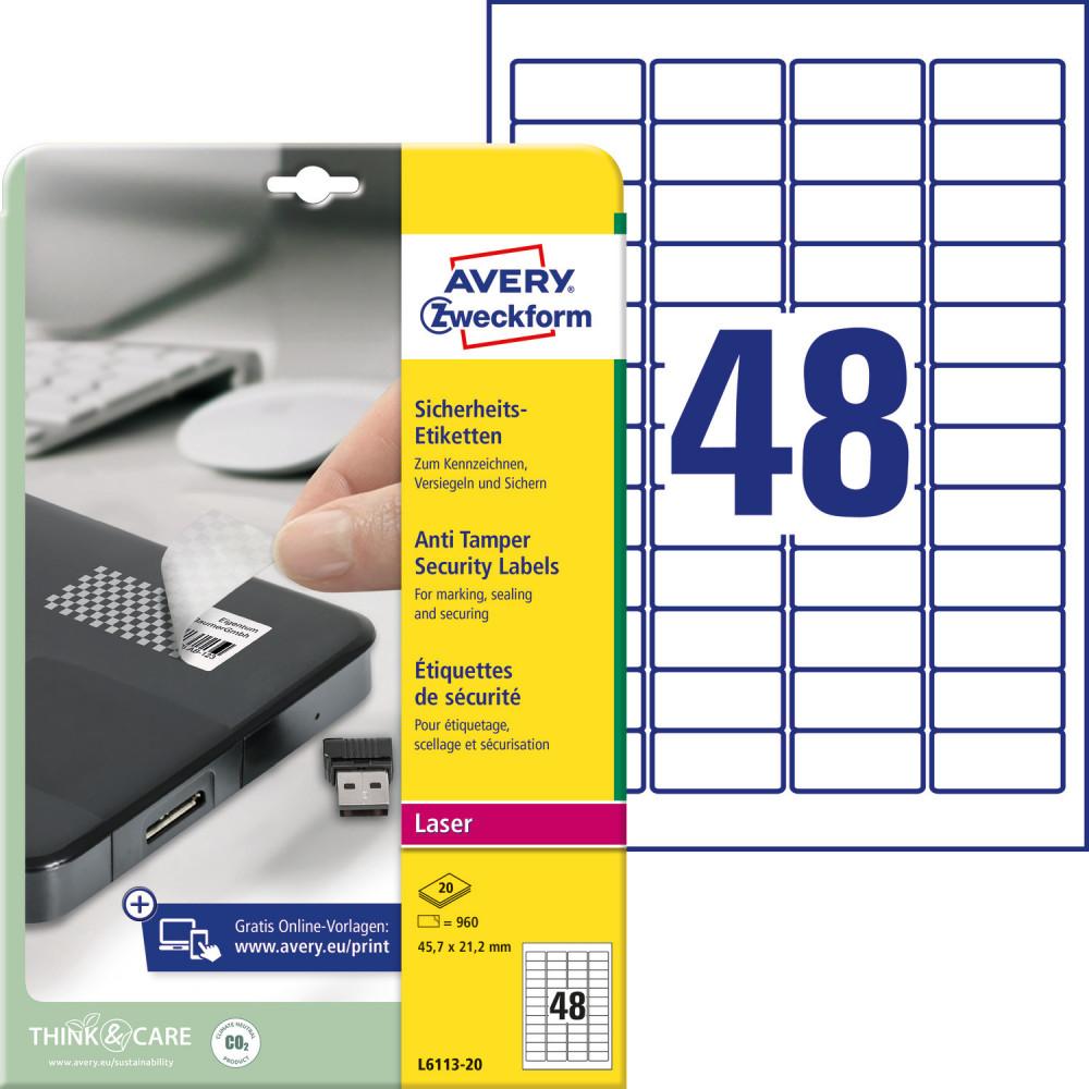 8e73aff85e Avery Zweckform No. L6113-20 lézeres 45,7 x 21,2 mm méretű, fehér ...