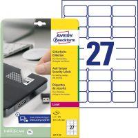 Avery Zweckform No. L6114-20 lézeres 63,5 x 29,6 mm méretű, fehér öntapadó biztonsági etikett címke A4-es íven - 540 címke / csomag - 20 ív / csomag (Avery L6114-20)