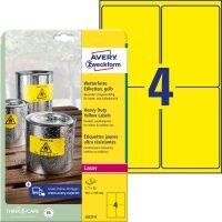 Avery Zweckform No. L6127-8 lézeres 99,1 x 139 mm méretű, sárga időjárásálló öntapadó etikett címke, tartós ragasztóval A4-es íven - 32 címke / csomag - 8 ív / csomag (Avery L6127-8)
