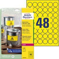 Avery Zweckform No. L6128-20 lézeres 30 mm átmérőjű, sárga időjárásálló öntapadó körcímke, tartós ragasztóval A4-es íven - 960 címke / csomag - 20 ív / csomag (Avery L6128-20)