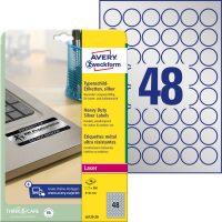 Avery Zweckform No. L6129-20 lézeres 30 mm átmérőjű, ezüst ipari öntapadó körcímke, tartós ragasztóval A4-es íven - 960 címke / csomag - 20 ív / csomag (Avery L6129-20)