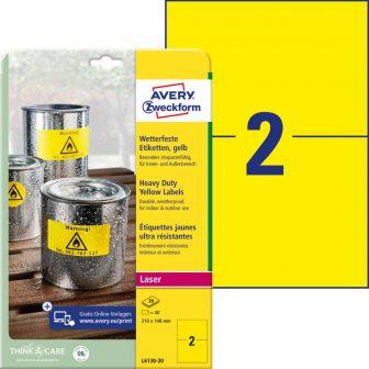 Avery Zweckform No. L6130-20 lézeres 210 x 148 mm méretű, sárga időjárásálló öntapadó etikett címke, tartós ragasztóval A4-es íven - 40 címke / csomag - 20 ív / csomag (Avery L6130-20)