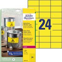 Avery Zweckform No. L6131-20 lézeres 70 x 37 mm méretű, sárga időjárásálló öntapadó etikett címke, tartós ragasztóval A4-es íven - 480 címke / csomag - 20 ív / csomag (Avery L6131-20)