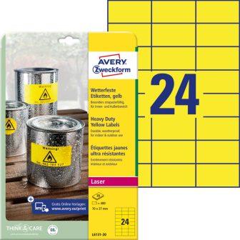 Avery Zweckform L6131-20 nyomtatható öntapadós időjárásálló etikett címke