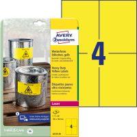Avery Zweckform No. L6132-20 lézeres 105 x 148 mm méretű, sárga időjárásálló öntapadó etikett címke, tartós ragasztóval A4-es íven - 80 címke / csomag - 20 ív / csomag (Avery L6132-20)