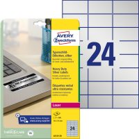 Avery Zweckform No. L6133-20 lézeres 70 x 37 mm méretű, ezüst ipari öntapadó etikett címke, tartós ragasztóval A4-es íven - 480 címke / csomag - 20 ív / csomag (Avery L6133-20)