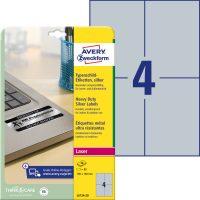 Avery Zweckform No. L6134-20 lézeres 105 x 148 mm méretű, ezüst ipari öntapadó etikett címke, tartós ragasztóval A4-es íven - 80 címke / csomag - 20 ív / csomag (Avery L6134-20)