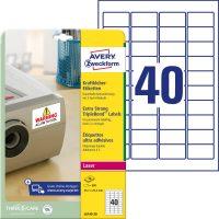 Avery Zweckform No. L6140-20 lézeres 45,7 x 25,4 mm méretű, fehér 3 -szor erősebben tapadó etikett címke A4-es íven - 800 címke / csomag - 20 ív / csomag (Avery L6140-20)