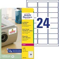 Avery Zweckform No. L6141-20 lézeres 63,5 x 33,9 mm méretű, fehér 3 -szor erősebben tapadó etikett címke A4-es íven - 480 címke / csomag - 20 ív / csomag (Avery L6141-20)