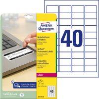 Avery Zweckform No. L6145-20 lézeres 45,7 x 25,4 mm méretű, fehér eltávolíthatatlan öntapadó etikett címke A4-es íven - 800 címke / csomag - 20 ív / csomag (Avery L6145-20)