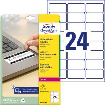 Avery Zweckform No. L6146-20 lézeres 63,5 x 33,9 mm méretű, fehér eltávolíthatatlan öntapadó etikett címke A4-es íven - 480 címke / csomag - 20 ív / csomag (Avery L6146-20)