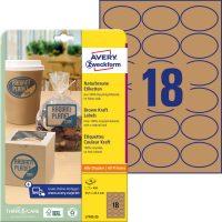 Avery Zweckform No. L7103-25 univerzális 63,5 x 42,3 mm méretű, ovális alakú, natúr barna színű öntapadó etikett címke A4-es íven - 450 címke / csomag - 25 ív / csomag (Avery L7103-25)