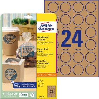 Avery Zweckform L7105-25 nyomtatható környezetbarát öntapadós termék címke