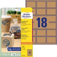 Avery Zweckform No. L7110-25 univerzális 62 x 42 mm méretű, natúr barna színű öntapadó etikett címke A4-es íven - 450 címke / csomag - 25 ív / csomag (Avery L7110-25)