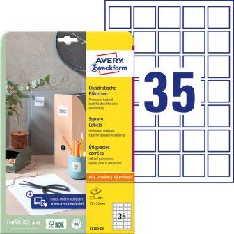 Avery Zweckform No. L7120-25 univerzális 35 x 35 mm méretű, fehér öntapadó nagy fedőképességű QR-kód címke A4-es íven - 875 címke / csomag - 25 ív / csomag (Avery L7120-25)
