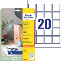 Avery Zweckform No. L7121-25 univerzális 45 x 45 mm méretű, fehér öntapadó nagy fedőképességű QR-kód címke A4-es íven - 500 címke / csomag - 25 ív / csomag (Avery L7121-25)