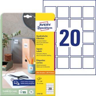 Avery Zweckform L7121-25 négyzet alakú nyomtatható öntapadós QR-kód címke