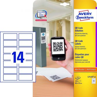 Avery Zweckform L7122-25 téglalap alakú nyomtatható öntapadós QR-kód címke