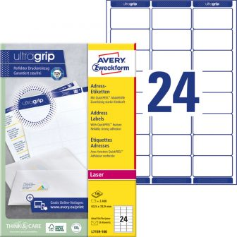 Avery Zweckform No. L7159-100 lézeres 63,5 x 33,9 mm méretű, fehér öntapadó etikett címke A4-es íven - 2400 címke / doboz - 100 ív / doboz (Avery L7159-100)
