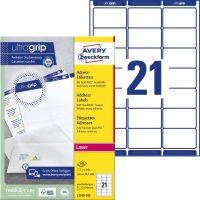 Avery Zweckform No. L7160-100 lézeres 63,5 x 38,1 mm méretű, fehér öntapadó etikett címke A4-es íven - 2100 címke / doboz - 100 ív / doboz (Avery L7160-100)