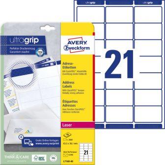 Avery Zweckform No. L7160-40 lézeres 63,5 x 38,1 mm méretű, fehér öntapadó etikett címke A4-es íven - 840 címke / csomag - 40 ív / csomag (Avery L7160-40)